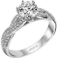 twisted shank engagement ring artcarved 0 25 carat calla twist shank engagement ring