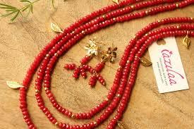 gold plated bead necklace images Designer layered reddish gold plated gemstone beaded necklace at jpg