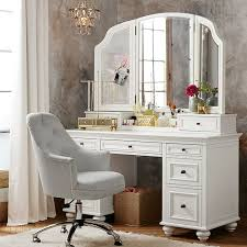 mirrored bedroom vanity table furniture retro wooden makeup table with hollywood style mirror