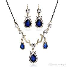 blue sapphire necklace set images 2018 vintage costume blue jewelry sets gold chain triple drops jpg