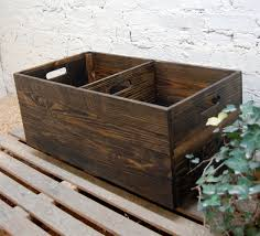 rolling crate with divider wooden crate toy storage reclaimed