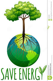 save energy theme with earth and tree stock vector image 60930808
