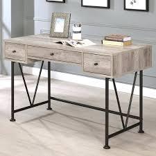 wood and metal writing desk grey writing desk black metal grey wood home office 3 drawer