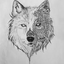 wolf muzzle with floral ornament design