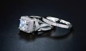 princess cut cubic zirconia wedding sets princess cut cubic zirconia bridal ring set groupon