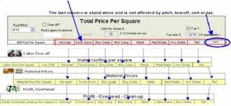 roofing price per square worksheet roof estimating software