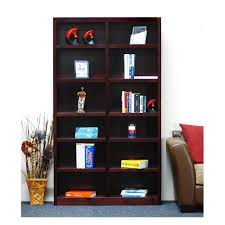 Bookcase Wide Concepts In Wood Midas Double Wide 12 Shelf Bookcase In Cherry
