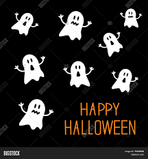 many spook ghosts happy halloween card flat design stock vector