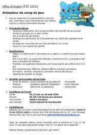 horaire bureau d emploi daveluyville offre d emploi cs de jour