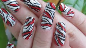 zebra print bright red and silver glitter design nail art tutorial