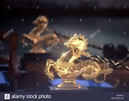 ornamental golden horses on gondola venice veneto italy stock