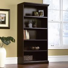 black bookshelf with cabinet sauder select estate black library bookcase 412177