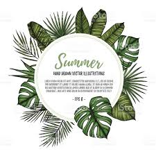 summer tropical exotic template label with palm leaves hand drawn