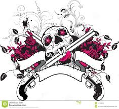 skull guns roses t shirt design stock vector illustration of
