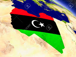 Libyas Flag Flag Of Libya On Planet Surface From Space 3d Illustration With