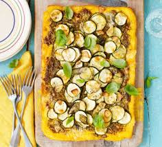 cuisin courgette crusted polenta tart with pesto courgette gruyère recipe