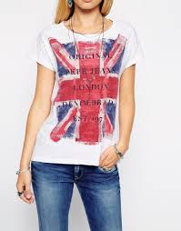 Flag Shirts Womens Lyst Pepe Jeans Union Jack T Shirt In Pink