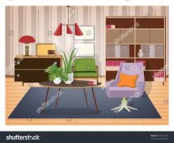 colorful interior living room furnished old stock vector 730871185 colorful interior of living room furnished in old fashioned style retro furnishings and decor