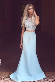 white lace prom dress light blue chiffon white lace see through neck mermaid