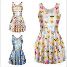 emoji robe mignon emoji imprimer plissée femmes sans manches robe patineuse