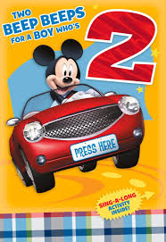 mickey mouse 2nd birthday card with sing along activity greeting
