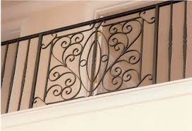 custom wrought iron steel balcony rail with hand formed design panel