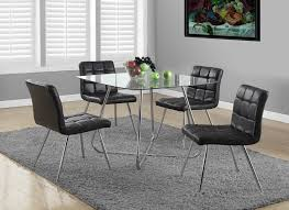 Glass Top Dining Table And Chairs Amazon Com Monarch Specialties Chrome Metal Tempered Glass