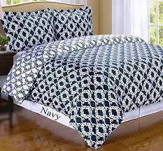 2pc moroccan medallion navy blue white cotton bedding duvet cover set