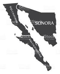 baja california sonora baja california sur map mexico illustration