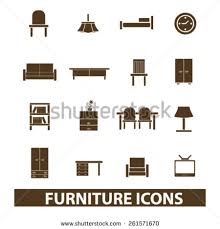 Home Interiors Collection by Set Vintage Home Furniture Accessories Retro Stock Vector