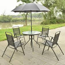 Patio Table Parasol by 6 Pcs Patio Garden Set Furniture 4 Folding Chairs Table With