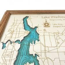 Lake Washington Map by Lake Washington Wa Single Depth Nautical Wood Chart 8