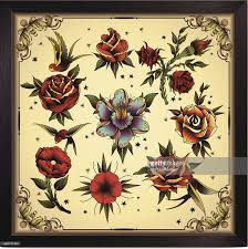 tattoo style flowers vector art getty images