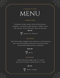 5 course menu template fancy menu templates by canva