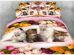 Kitten Bedding Set 3d Dolphin In The Setting Sun Printed Cotton 4 Piece Bedding Sets