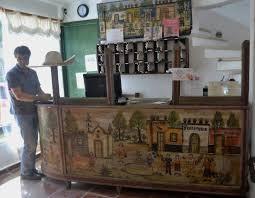 Antique Reception Desk Lobby The Reception Desk Is An Antique Railway Ticket Counter