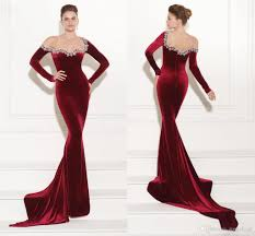 2017 new dark red velvet mermaid prom dresses evening gowns long
