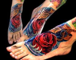 awesome 3d rose memorial foot tattoo for mom