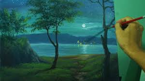 acrylic landscape painting lesson moonlight over the sea by jm lisondra you