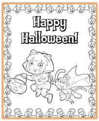 free dora printable halloween coloring jinxy kids