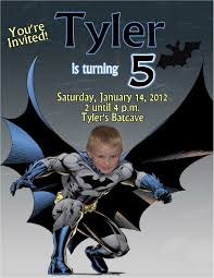 batman personalized photo birthday invitations 2012 1 09