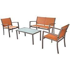 Outdoor Patio Furniture Amazon Com Traxion 4 210 Outdoor Patio Furniture Set Sunset