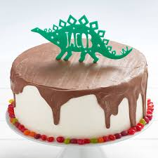 dinosaur birthday cake personalised stegosaurus dinosaur birthday cake topper by owl