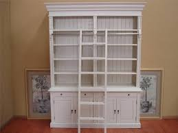 Solid Wood Bookcase Classic Tall White Mahogany Wood Bookcase With Ladder Delightful
