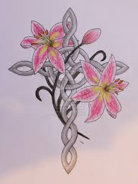 celtic cross and stargazer lilies tattoo design by living life