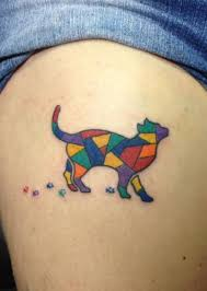 picture of stained glass cat tattoo