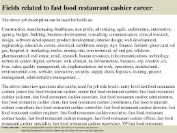 Fast Food Cashier Job Description Resume by Top 10 Fast Food Restaurant Cashier Interview Questions And Answers