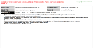 charge resume extension service specialist in charge resume sle
