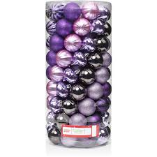 time 60mm time purple shatterproof ornaments set of
