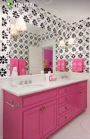 Pink And Brown Bathroom Ideas Colors Girls Bathroom Pink Bathroom Cabinetry With Black White